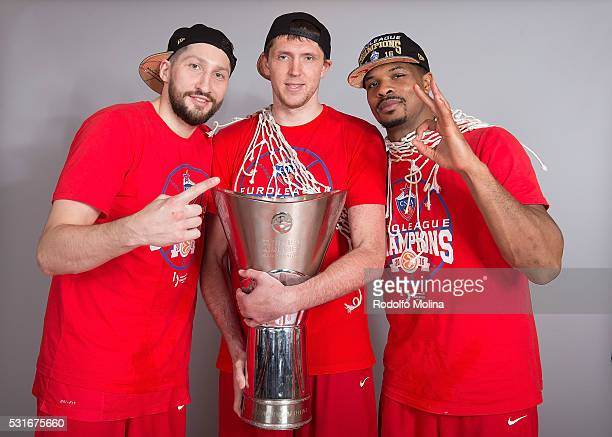 Nikita Kurbanov #41 of CSKA Moscow Victor Khryapa #31 and Kyle Hines #42 poses during the Turkish Airlines Euroleague Basketball Final Four Berlin...