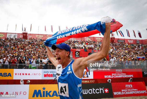 Nikita Liamin of Russia celebrates victory after the Men's Bronze medal match between Russia and Netherlands on August 06 2017 in Vienna Austria