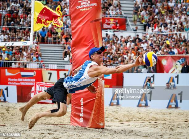 Nikita Liamin try to save the ball during the Men's Bronze medal match between Russia and Netherlands on August 06 2017 in Vienna Austria