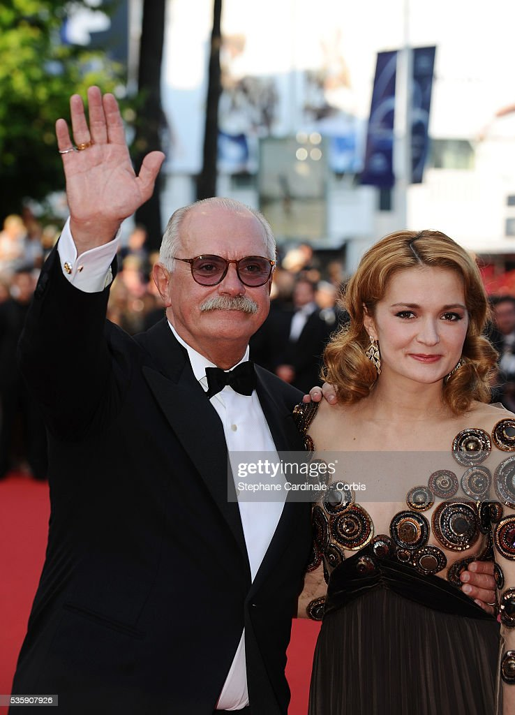 Nikita Mikhalkov and Nadezhda Mihalkova attend the premiere for 'The Exodus - Burnt By The Sun 2' during the 63rd Cannes International Film Festival.