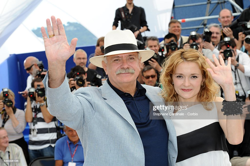 Nikita Mikhalkov and Nadezhda Mihalkova attend the 'The Exodus - Burnt By The Sun 2' Photocall during the 63rd Cannes International Film Festival.
