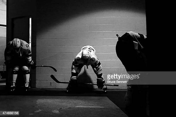 Nikita Nesterov and JT Brown of the Tampa Bay Lightning stretch prior to Game Five of the Eastern Conference Finals against the New York Rangers...