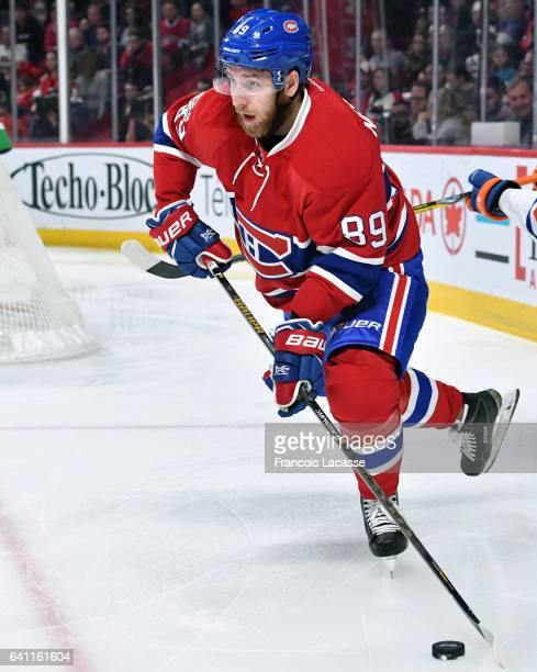 Nikita Nesterov of the Montreal Canadiens looks to pass the puck against the Edmonton Oilers in the NHL game at the Bell Centre on February 5 2017 in...