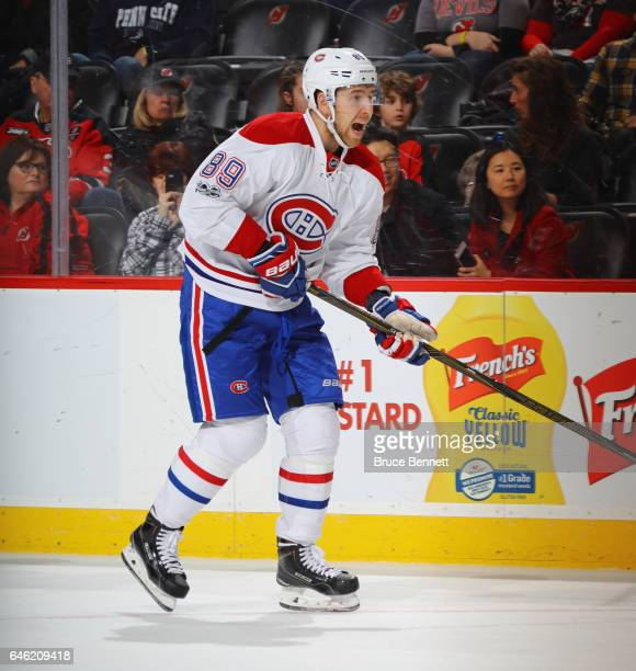 Nikita Nesterov of the Montreal Canadiens skates against the New Jersey Devils at the Prudential Center on February 27 2017 in Newark New Jersey The...