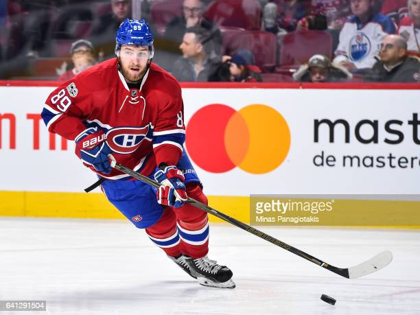 Nikita Nesterov of the Montreal Canadiens skates the puck during the NHL game against the Edmonton Oilers at the Bell Centre on February 5 2017 in...