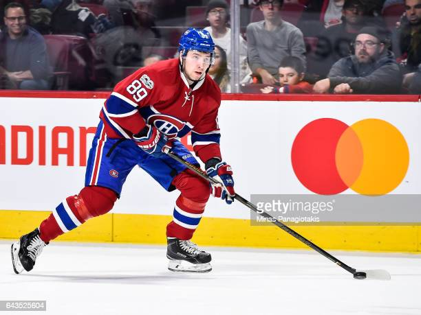 Nikita Nesterov of the Montreal Canadiens skates the puck during the NHL game against the Winnipeg Jets at the Bell Centre on February 18 2017 in...