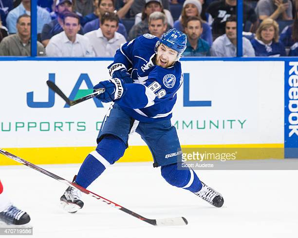 Nikita Nesterov of the Tampa Bay Lightning against the Detroit Red Wings during the first period in Game One of the Eastern Conference Quarterfinals...
