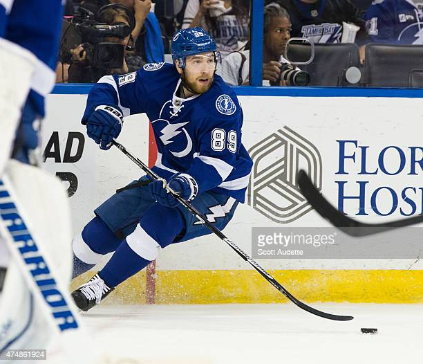 Nikita Nesterov of the Tampa Bay Lightning against the Montreal Canadiens during the second period in Game Six of the Eastern Conference Semifinals...