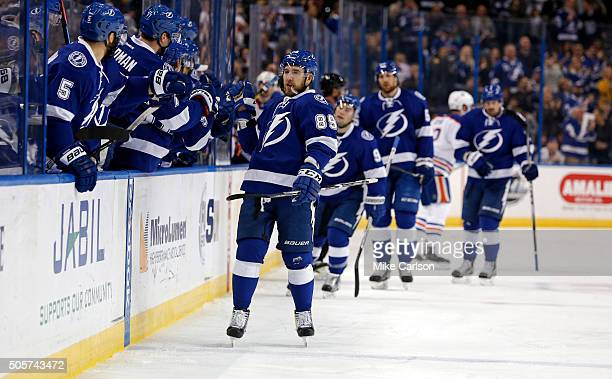 Nikita Nesterov of the Tampa Bay Lightning celebrates his goal against the Edmonton Oilers during the first period at the Amalie Arena on January 19...
