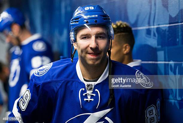 Nikita Nesterov of the Tampa Bay Lightning gets ready for pregame warm ups against the Dallas Stars at the Amalie Arena on October 15 2015 in Tampa...