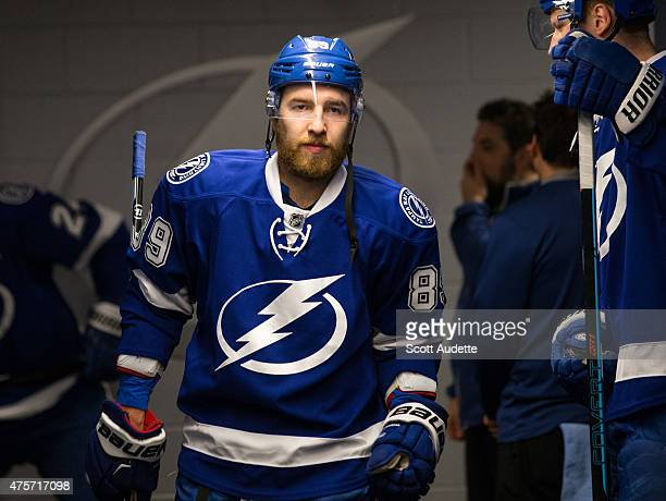 Nikita Nesterov of the Tampa Bay Lightning gets ready for the game against the New York Rangers before Game Six of the Eastern Conference Final...
