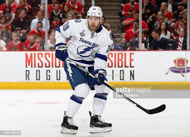 Nikita Nesterov of the Tampa Bay Lightning plays against the Chicago Blackhawks in Game Three of the 2015 NHL Stanley Cup Final at United Center on...