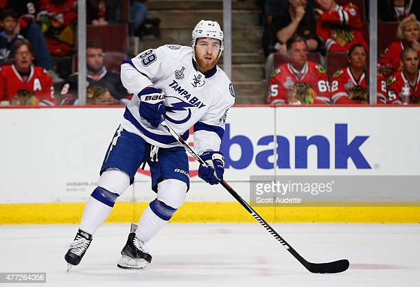 Nikita Nesterov of the Tampa Bay Lightning plays against the Chicago Blackhawks in Game Four of the 2015 NHL Stanley Cup Final at the United Center...