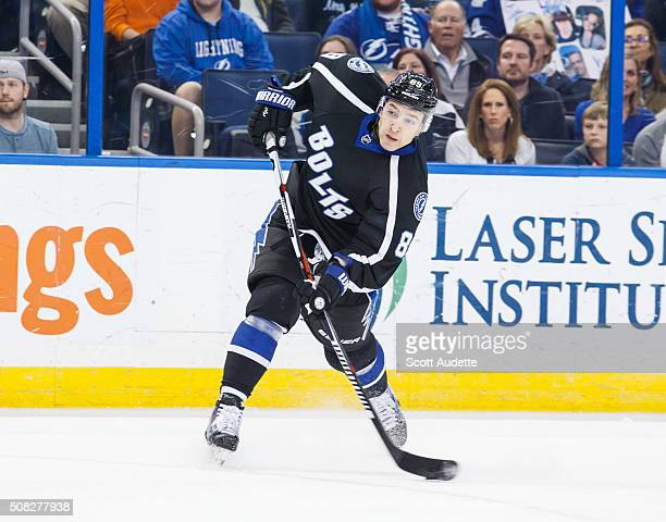 Nikita Nesterov of the Tampa Bay Lightning shoots against the Toronto Maple Leafs during the first period at the Amalie Arena on January 27 2016 in...