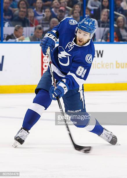 Nikita Nesterov of the Tampa Bay Lightning shoots the puck against the Ottawa Senators during first period at the Amalie Arena on December 20 2015 in...
