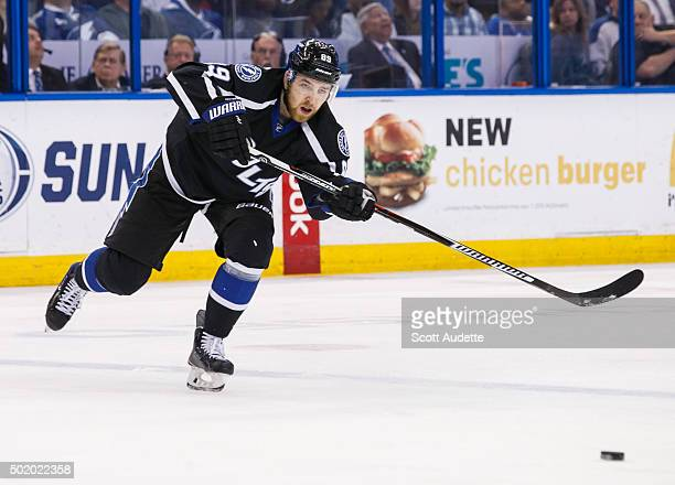 Nikita Nesterov of the Tampa Bay Lightning skates against the Washington Capitals during third period at the Amalie Arena on December 12 2015 in...