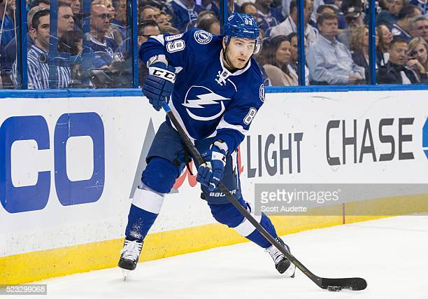 Nikita Nesterov of the Tampa Bay Lightning skates against the Detroit Red Wings during the second period of Game Two of the Eastern Conference...