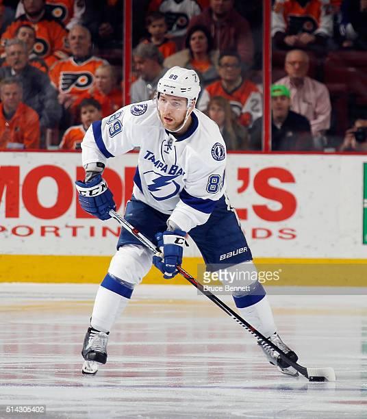 Nikita Nesterov of the Tampa Bay Lightning skates against the Philadelphia Flyers at the Wells Fargo Center on March 7 2016 in Philadelphia...
