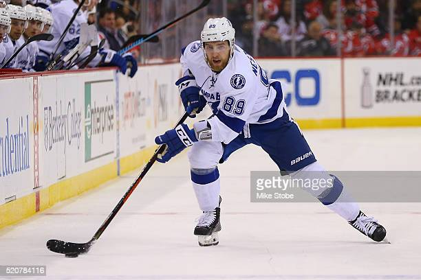 Nikita Nesterov of the Tampa Bay Lightning skates against the New Jersey Devils at Prudential Center on April 7 2016 in Newark New Jersey Tampa Bay...