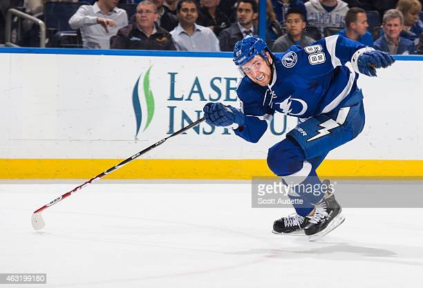 Nikita Nesterov of the Tampa Bay Lightning skates against the Edmonton Oilers at the Amalie Arena on January 15 2015 in Tampa Florida