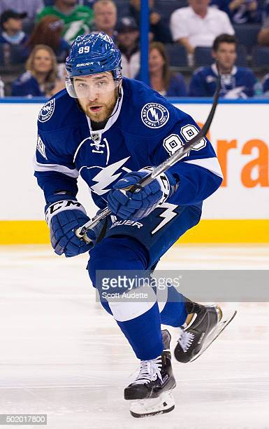 Nikita Nesterov of the Tampa Bay Lightning skates against the Ottawa Senators during second period at the Amalie Arena on December 10 2015 in Tampa...