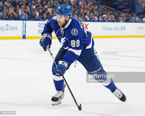 Nikita Nesterov of the Tampa Bay Lightning skates against the Ottawa Senators during third period at the Amalie Arena on December 20 2015 in Tampa...