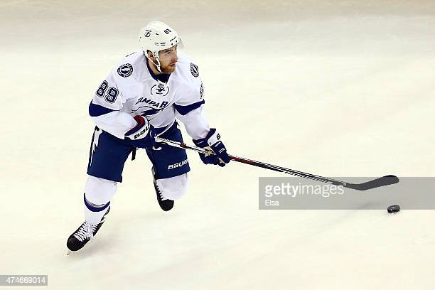 Nikita Nesterov of the Tampa Bay Lightning skates with the puck against the New York Rangers in Game Five of the Eastern Conference Finals during the...