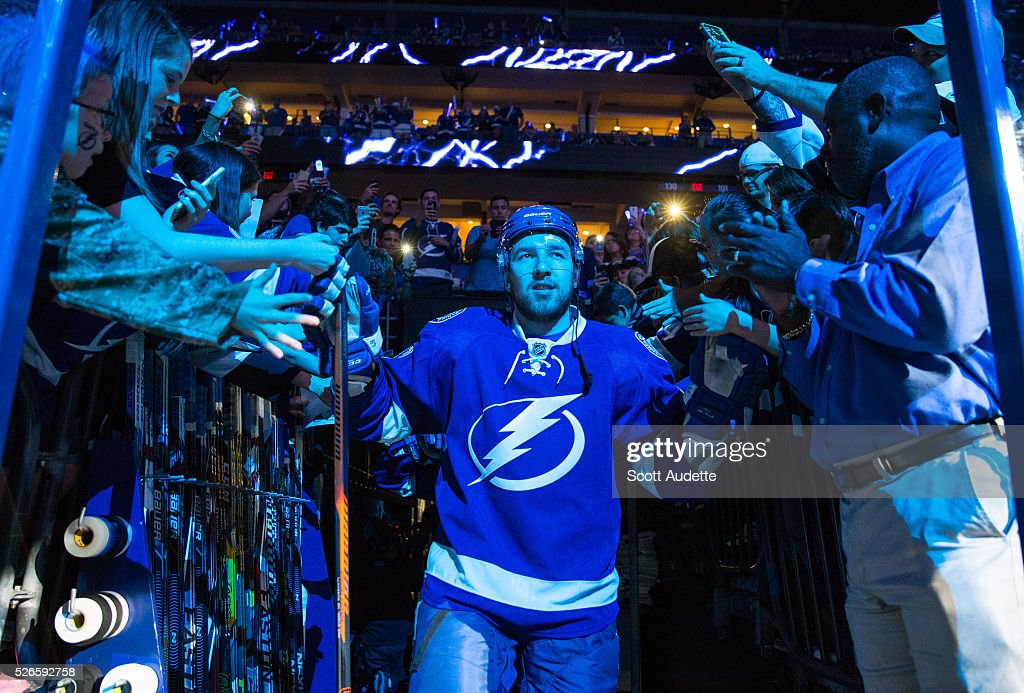 <a gi-track='captionPersonalityLinkClicked' href=/galleries/search?phrase=Nikita+Nesterov&family=editorial&specificpeople=7895381 ng-click='$event.stopPropagation()'>Nikita Nesterov</a> #89 of the Tampa Bay Lightning steps out to the ice for the pregame warm ups against the New York Islanders before Game Two of the Eastern Conference Second Round in the 2016 NHL Stanley Cup Playoffs at the Amalie Arena on April 30, 2016 in Tampa, Florida.