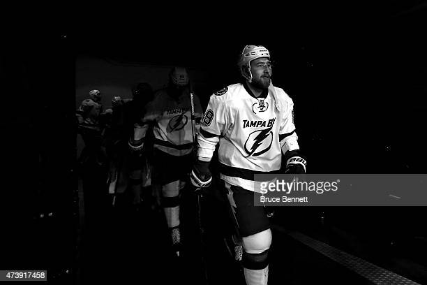 Nikita Nesterov of the Tampa Bay Lightning walks to the ice prior to Game Two of the Eastern Conference Finals against the New York Rangers during...