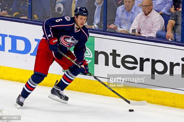 Nikita Nikitin of the Columbus Blue Jackets controls the puck during Game Three of the First Round of the 2014 NHL Stanley Cup Playoffs against the...