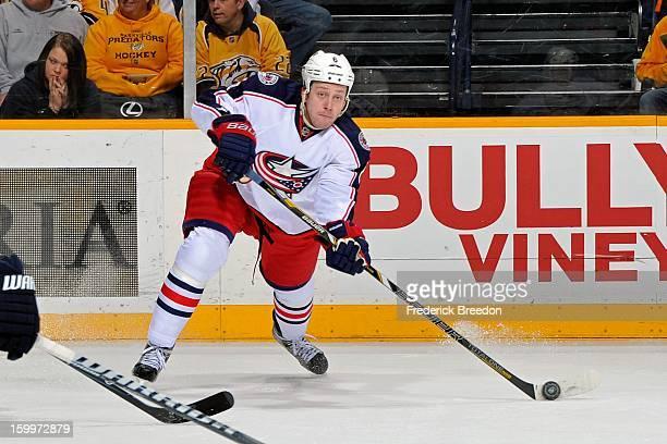 Nikita Nikitin of the Columbus Blue Jackets plays against the Nashville Predators at Bridgestone Arena on January 19 2013 in Nashville Tennessee