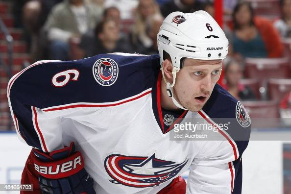 Nikita Nikitin of the Columbus Blue Jackets prepares for a faceoff against the Florida Panthers at the BBT Center on April 12 2014 in Sunrise Florida...