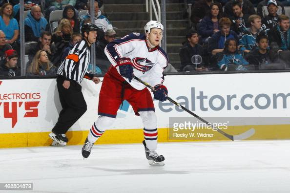 Nikita Nikitin of the Columbus Blue Jackets skates against the San Jose Sharks at SAP Center on February 7 2014 in San Jose California