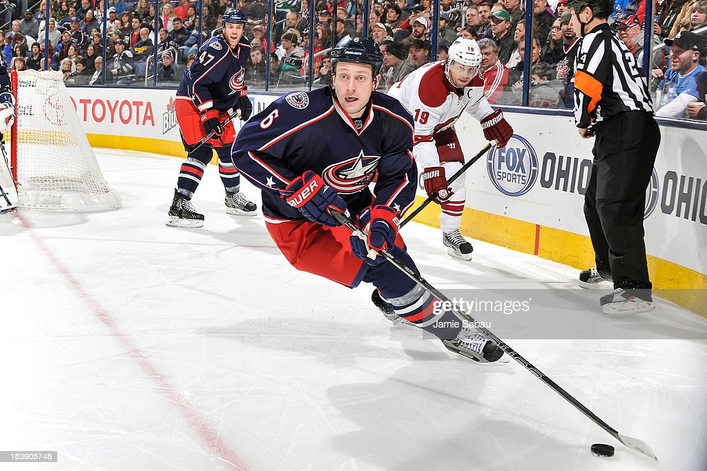 Nikita Nikitin #6 of the Columbus Blue Jackets skates with the puck against the Phoenix Coyotes on March 16, 2013 at Nationwide Arena in Columbus, Ohio.