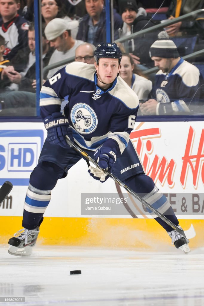 <a gi-track='captionPersonalityLinkClicked' href=/galleries/search?phrase=Nikita+Nikitin&family=editorial&specificpeople=722107 ng-click='$event.stopPropagation()'>Nikita Nikitin</a> #6 of the Columbus Blue Jackets skates with the puck against the St. Louis Blues on April 12, 2013 at Nationwide Arena in Columbus, Ohio.