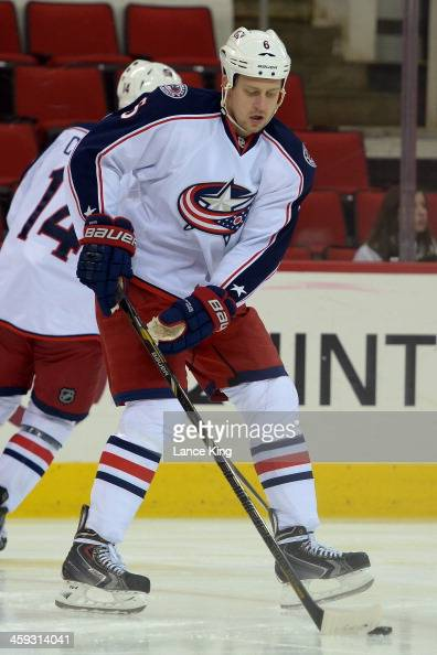 Nikita Nikitin of the Columbus Blue Jackets warms up prior to a game against the Carolina Hurricanes at PNC Arena on December 23 2013 in Raleigh...