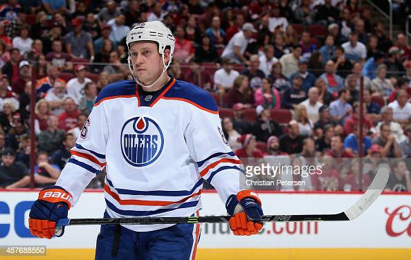Nikita Nikitin of the Edmonton Oilers during the NHL game against the Arizona Coyotes at Gila River Arena on October 15 2014 in Glendale Arizona The...
