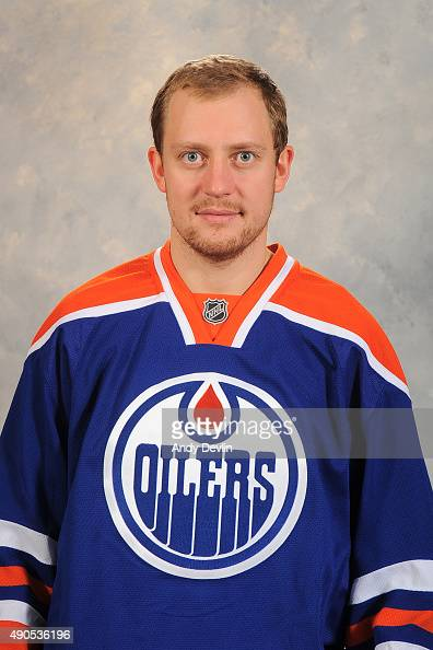 Nikita Nikitin of the Edmonton Oilers poses for his official headshot for the 20152016 season on September 17 2015 at the Rexall Place in Edmonton...