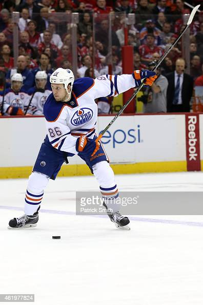 Nikita Nikitin of the Edmonton Oilers shoots the puck against the Washington Capitals at Verizon Center on January 20 2015 in Washington DC The...