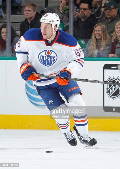 Nikita Nikitin of the Edmonton Oilers skates against the Dallas Stars at the American Airlines Center on November 25 2014 in Dallas Texas