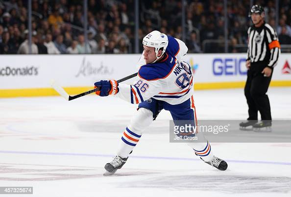 Nikita Nikitin of the Edmonton Oilers skates against the Los Angeles Kings at Staples Center on October 14 2014 in Los Angeles California