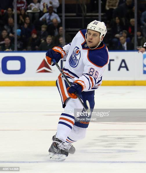 Nikita Nikitin of the Edmonton Oilers skates against the New York Rangers at Madison Square Garden on November 9 2014 in New York City The Oilers...