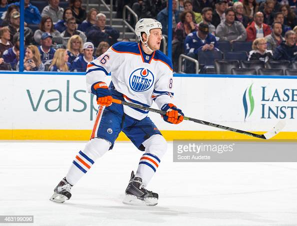 Nikita Nikitin of the Edmonton Oilers skates against the Tampa Bay Lightning during the first period at the Amalie Arena on January 15 2015 in Tampa...