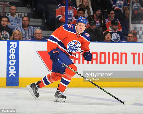 Nikita Nikitin of the Edmonton Oilers skates during a game against the Winnipeg Jets on December 21 2015 at Rexall Place in Edmonton Alberta Canada