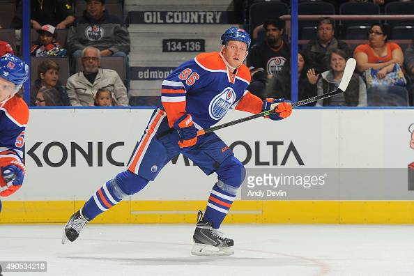 Nikita Nikitin of the Edmonton Oilers skates during a preseason game against the Calgary Flames on September 21 2015 at Rexall Place in Edmonton...