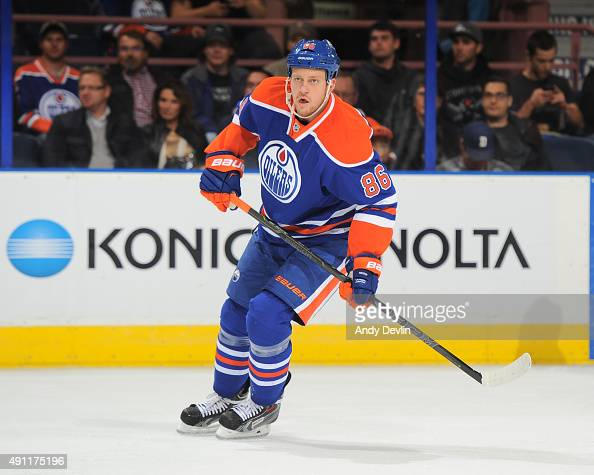 Nikita Nikitin of the Edmonton Oilers skates during a preseason game against the Arizona Coyotes on September 29 2015 at Rexall Place in Edmonton...
