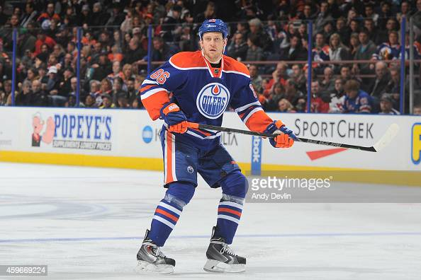 Nikita Nikitin of the Edmonton Oilers skates on the ice during the game against the New Jersey Devils on November 21 2014 at Rexall Place in Edmonton...
