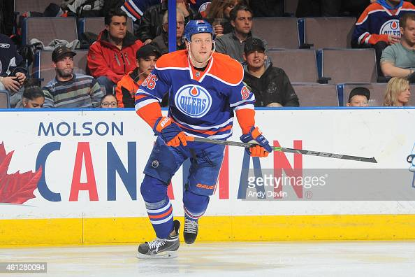 Nikita Nikitin of the Edmonton Oilers skates on the ice during the game against the Chicago Blackhawks on January 9 2015 at Rexall Place in Edmonton...