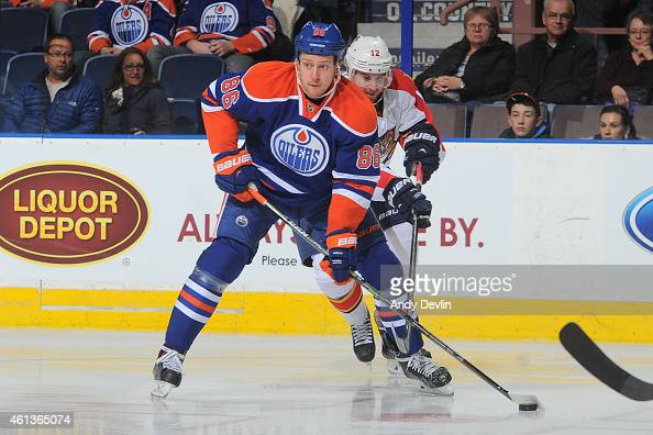 Nikita Nikitin of the Edmonton Oilers skates on the ice during the game against the Florida Panthers on January 11 2015 at Rexall Place in Edmonton...