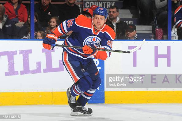 Nikita Nikitin of the Edmonton Oilers skates on the ice in a game against the Carolina Hurricanes on October 24 2014 at Rexall Place in Edmonton...